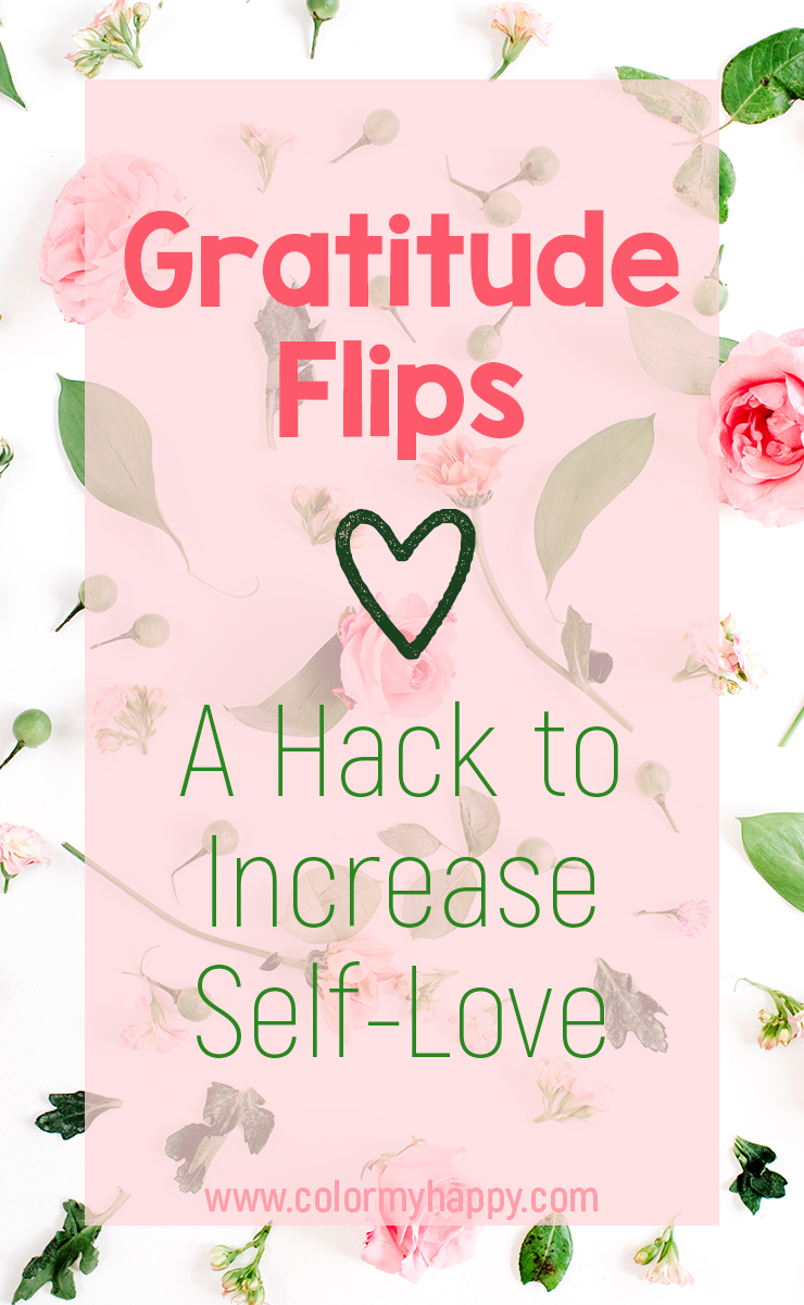 Sometimes it's hard to know how to increase self-love. We want to love ourselves, but we can't get our inner mean girl to stop pointing out our flaws. With gratitude flips, we can turn the things we don't like about ourselves into things we're grateful for. Free printable to help you love yourself.