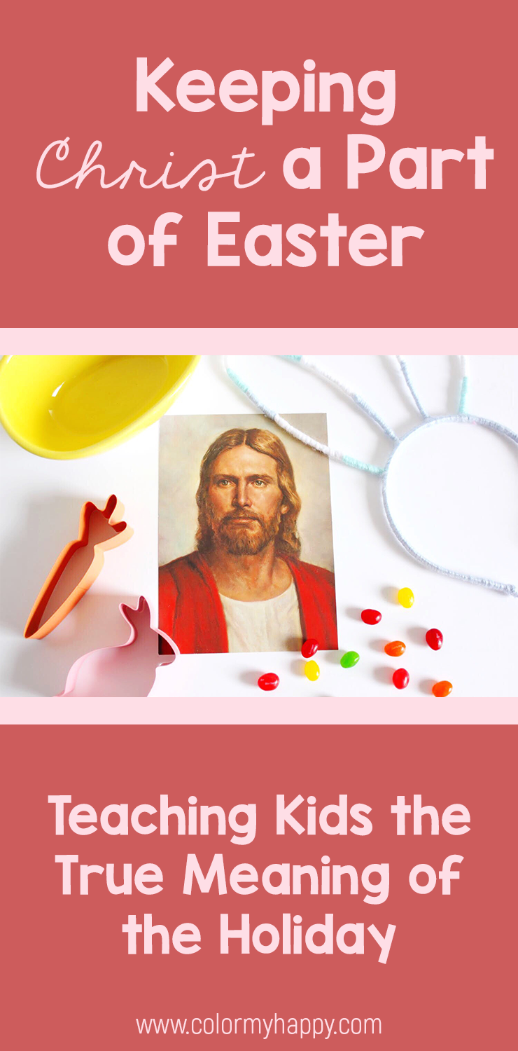 A photo of Christ with some Easter candy and items