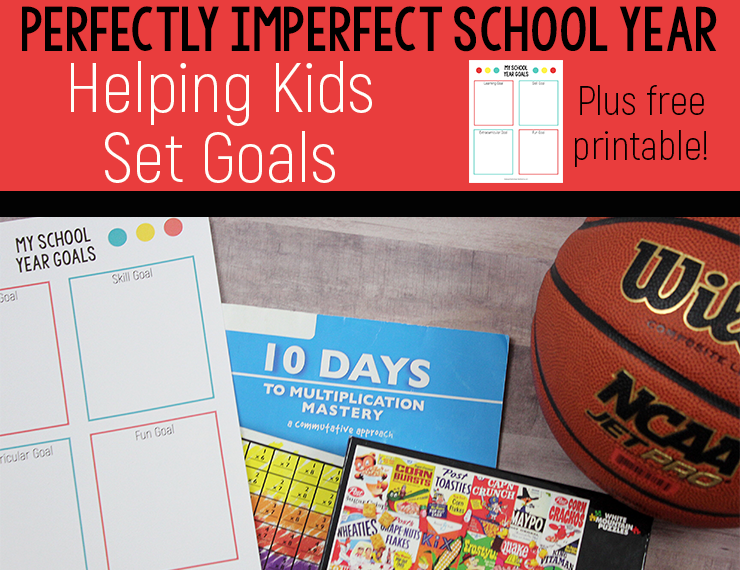 At the start of each school year, I spend some time setting goals with my kids and encouraging them to choose specific things to work one--one in each of four different categories. Learn about these four categories and score a free printable to help your kids set their own back-to-school goals. #freeprintable #backtoschool #goals #goalsforkids #schoolyear