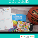 A basketball, a puzzle, a multiplication workbook, and a printable goal sheet for kids