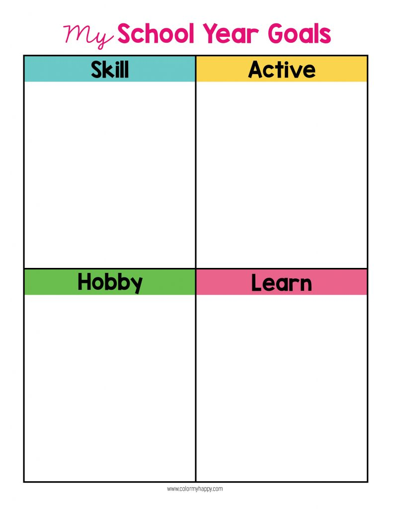 A goal setting sheet for kids