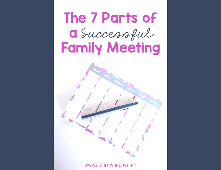 Blog image of The 7 Parts of a Successful Family Meeting blog post. Picture of a weekly planning notepad and pen.
