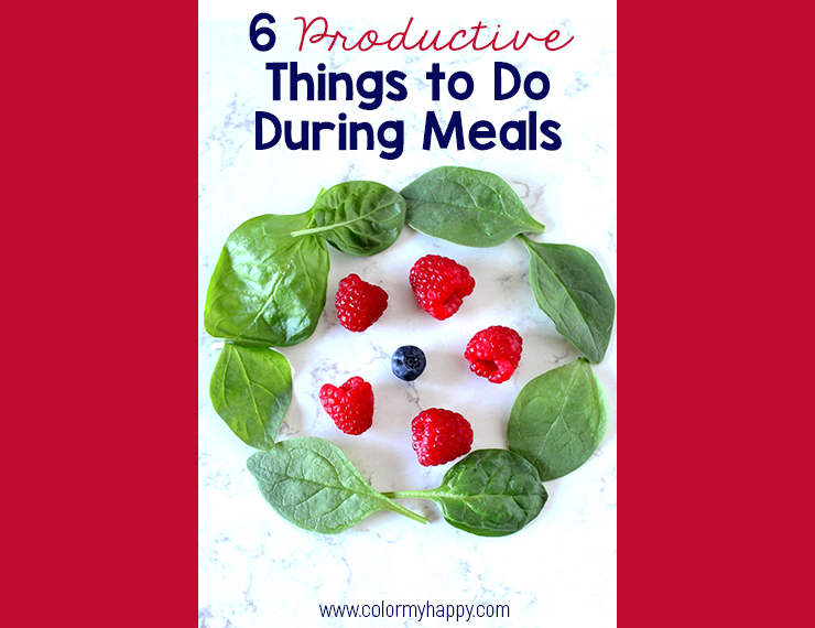Blog image for 6 Productive Things to Do During Meals with a picture of spinach, raspberries, and a blueberry