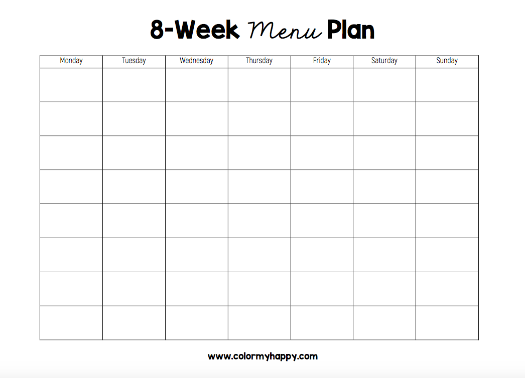 Printable black and white 8-week menu plan