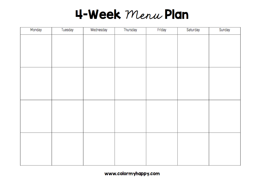 Printable black and white 4-week menu plan