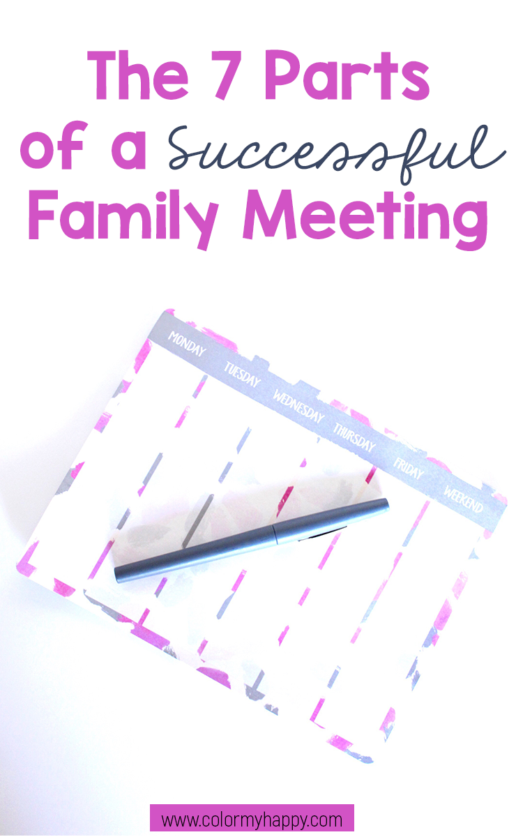 PIn image of The 7 Parts of a Successful Family Meeting blog post. Picture of a weekly planning notepad and pen.