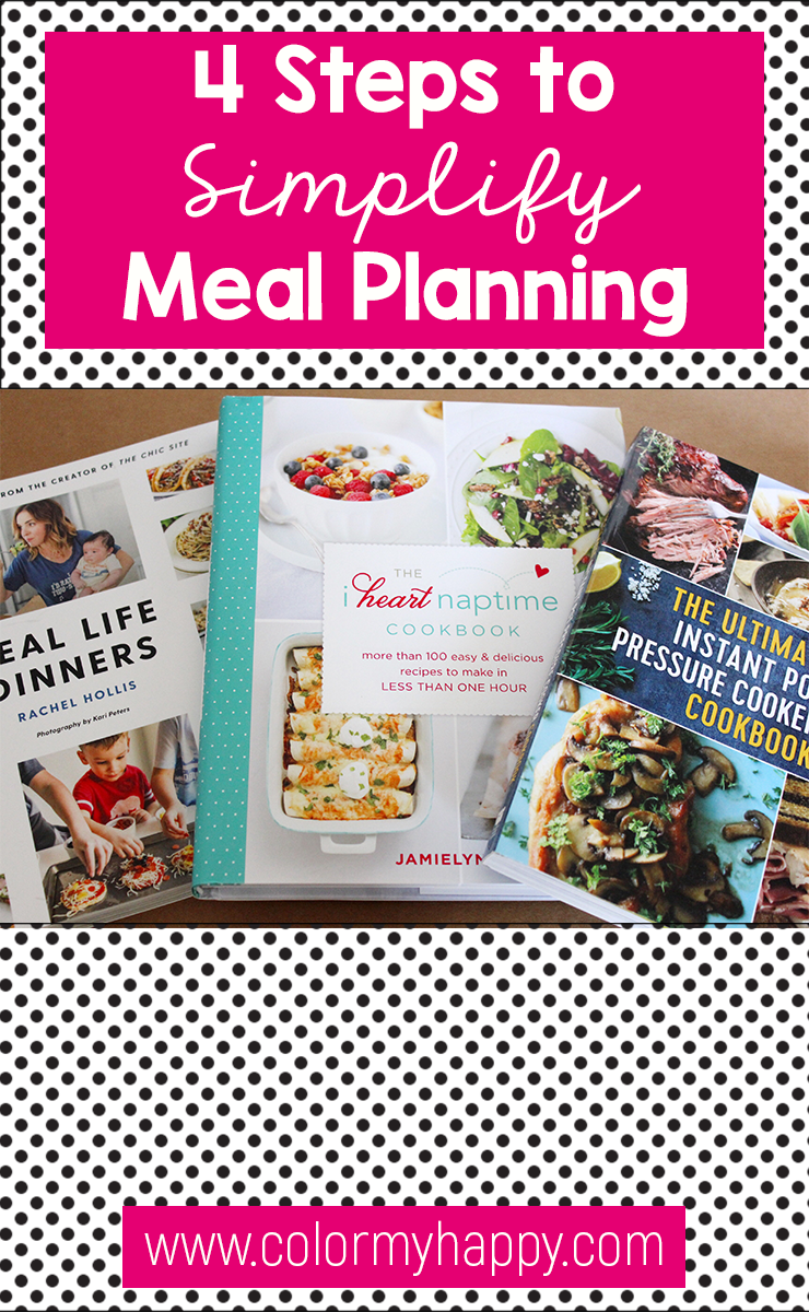 Pin image for 4 steps to simplify meal planning blog post. White with black polka dots, hot pink, and image of three recipe books.