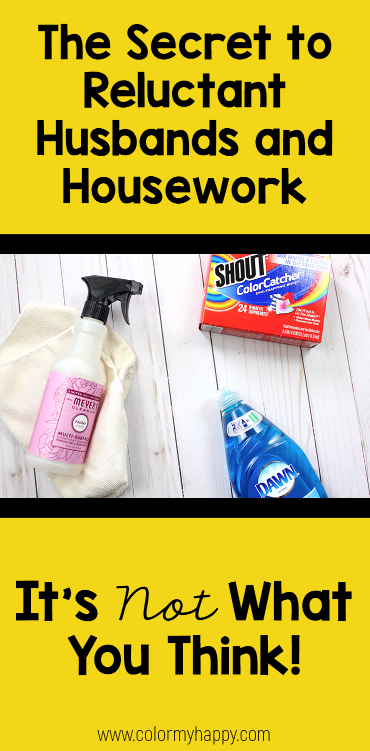 "Multipurpose spray, microfiber cloth, Shout color catchers, and Dawn dish soap with the words ""The Secret to Reluctant Husbands and Housework: It's Not What You Think!"""