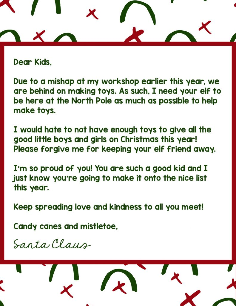 Letter from Santa explaining why the Elf on the Shelf won't be around this year