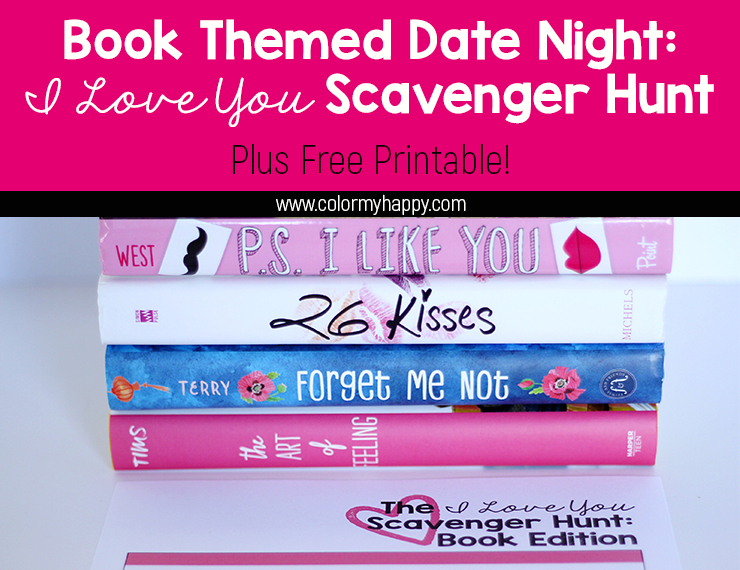 My husband and I love books. In fact, going to the bookstore is one of our favorite date night activities. To take things up a notch, I created a fun book themed date night featuring an I Love You Scavenger Hunt. Free printable included! #datenight #scavengerhunt