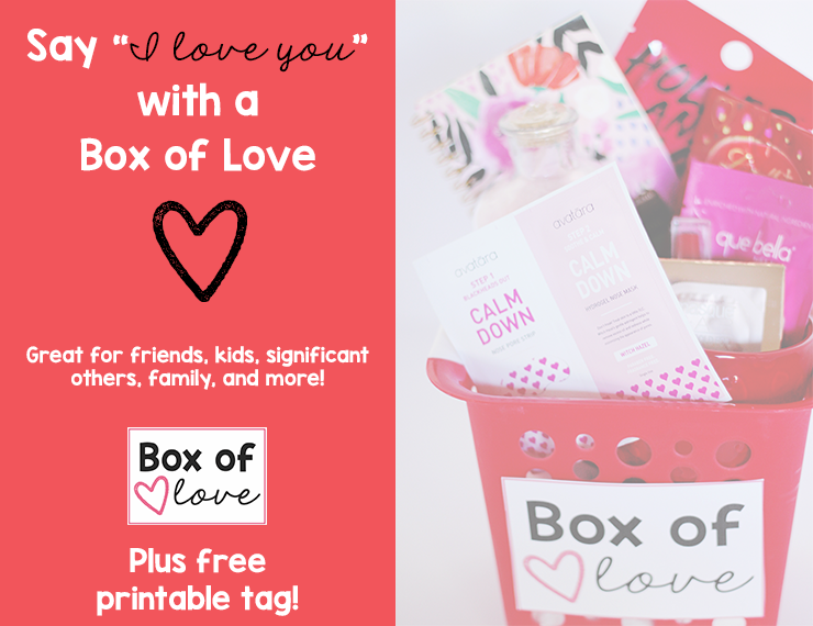 Giving gifts is a fun way to show someone you care. Download a free printable tag and create a Box of Love for a simple Valentine's Day gift or to tell someone how much they mean to you any time of year.