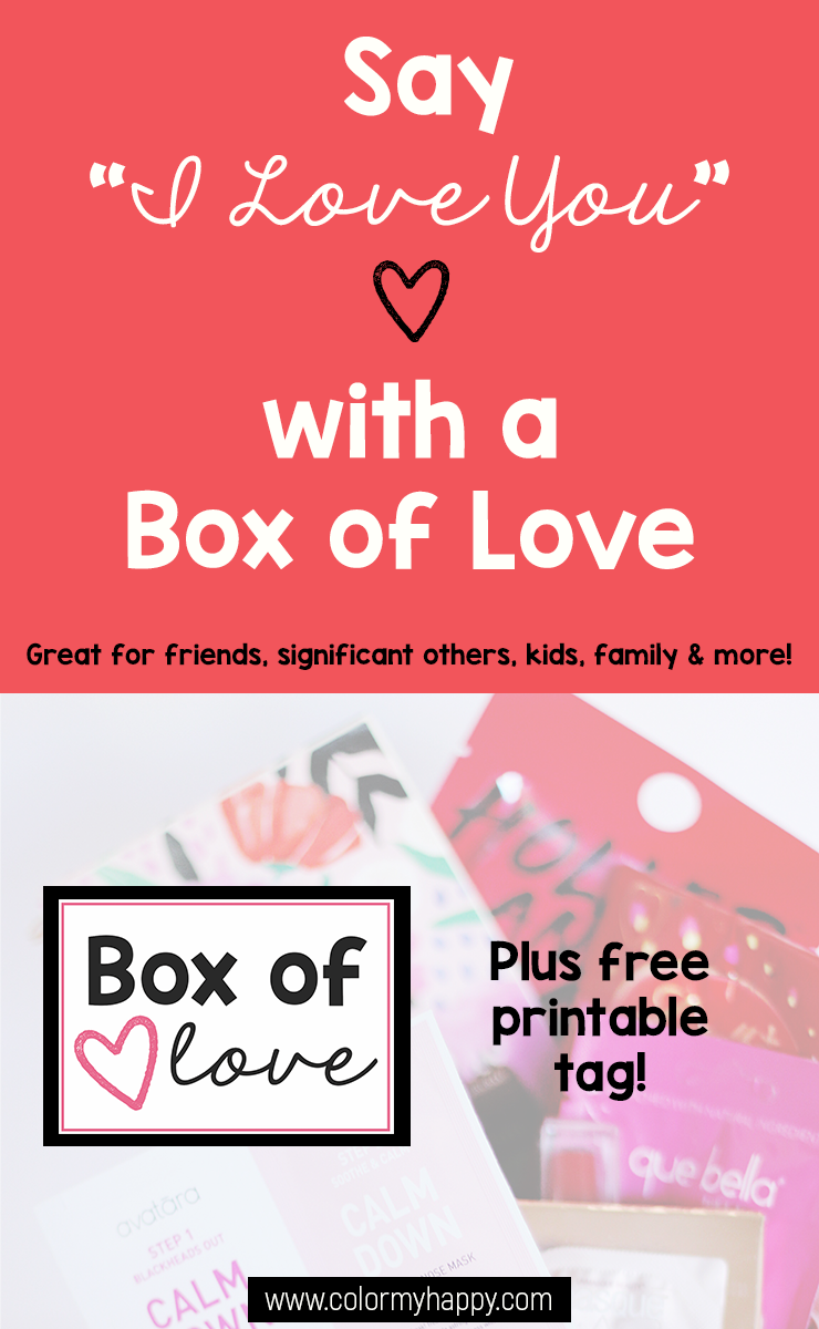 """A gift box of items with a printable tag that says, \""""Box of Love.\"""""""