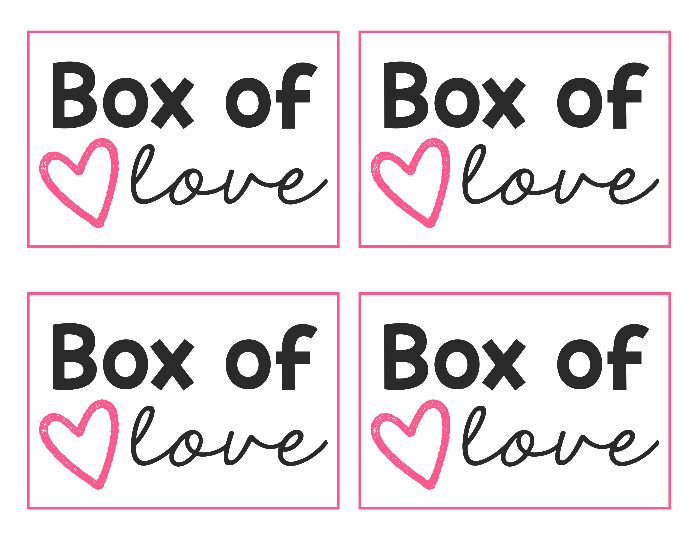 """A printable with four \""""Box of Love\"""" tags"""