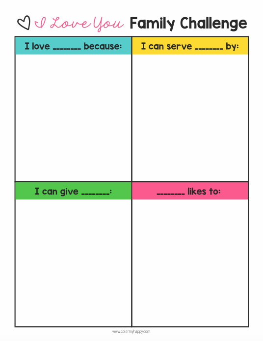 Learning how to show love to the important people in your life is an important skill to have, but sometimes our kids need a little direction--especially when it comes to showing love for their siblings. Take the I Love You Family Challenge and start teaching your kids how to show love for each other. Free printable included to help you get started.