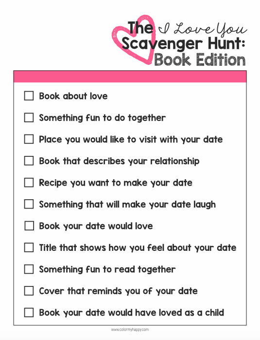 My husband and I love books. In fact, going to the bookstore is one of our favorite date night activities. To take things up a notch, I created a fun book themed date night featuring an I Love You Scavenger Hunt. Free printable included!