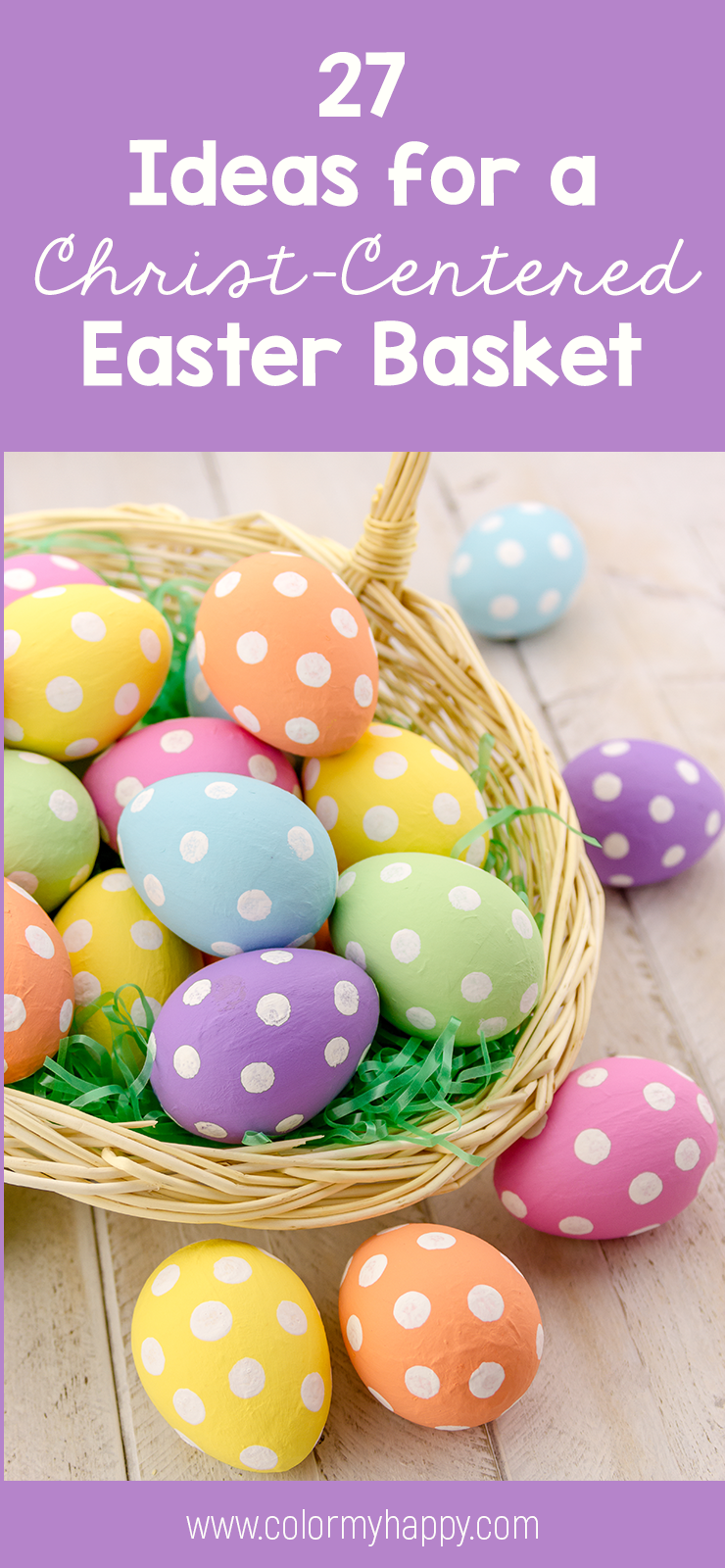 A basket of colorful polka dotted eggs