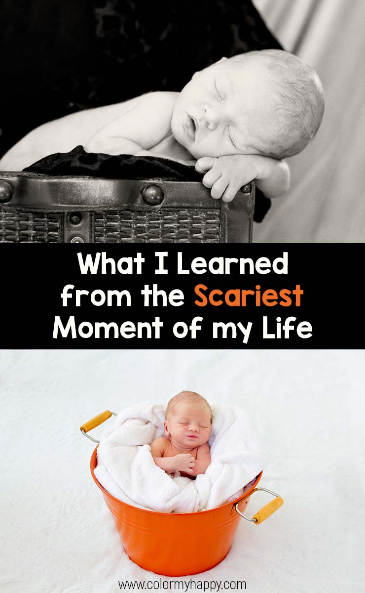 A newborn baby inside a basket