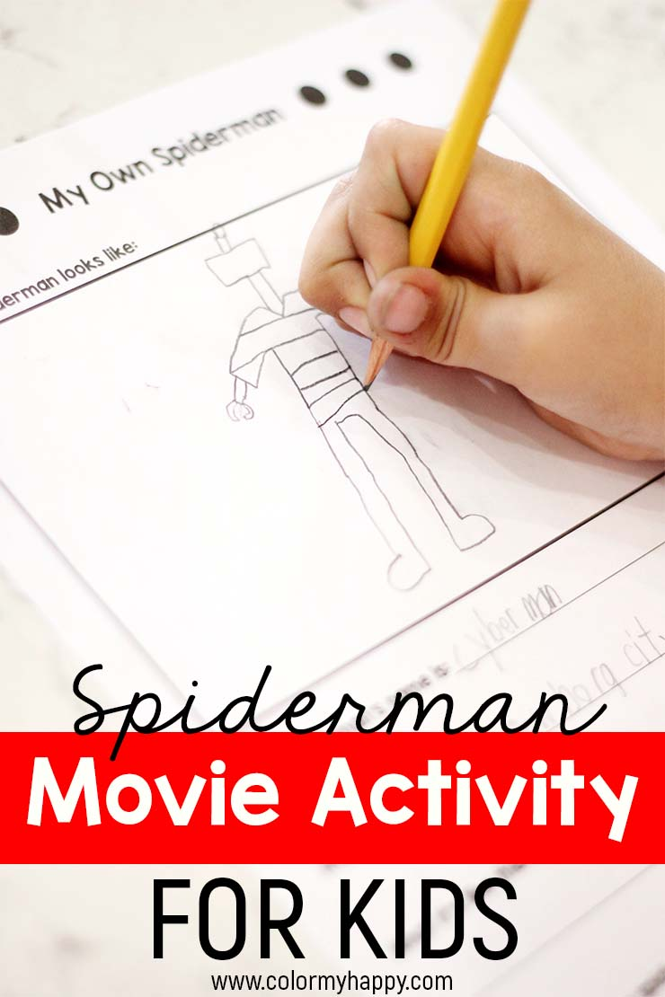 A kid\'s hand drawing his own Spiderman character