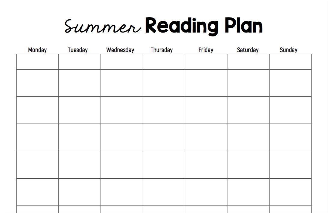 A printable summer reading plan sheet