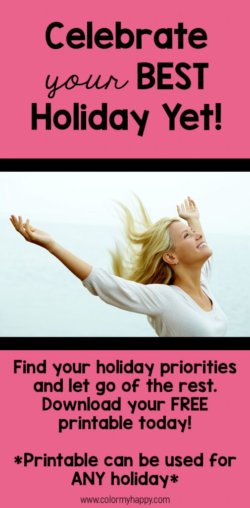 Woman with arms in the air, celebrating finding her holiday priorities.