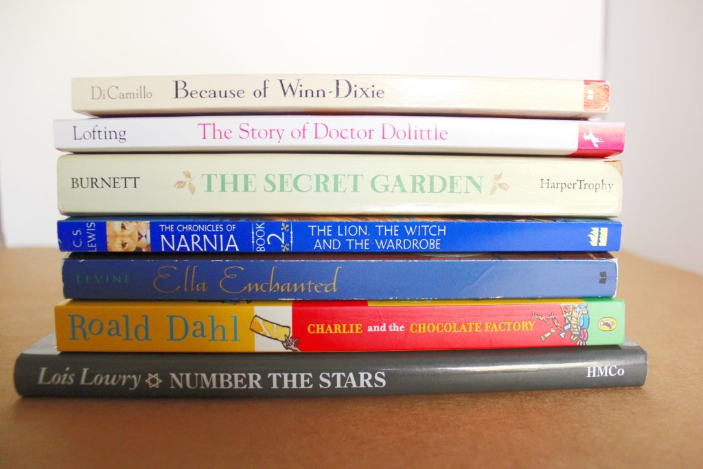 A stack of children\'s novels
