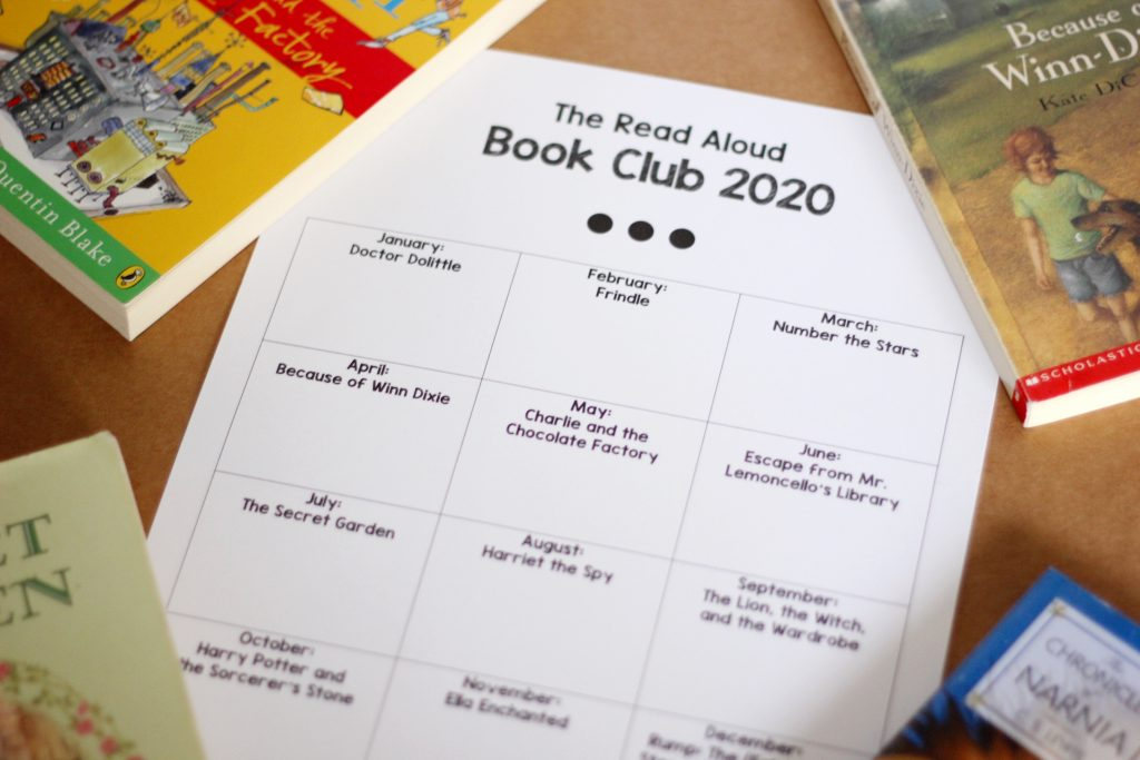 A close up of a 2020 read-aloud book club tracking sheet with parts of 4 books showing