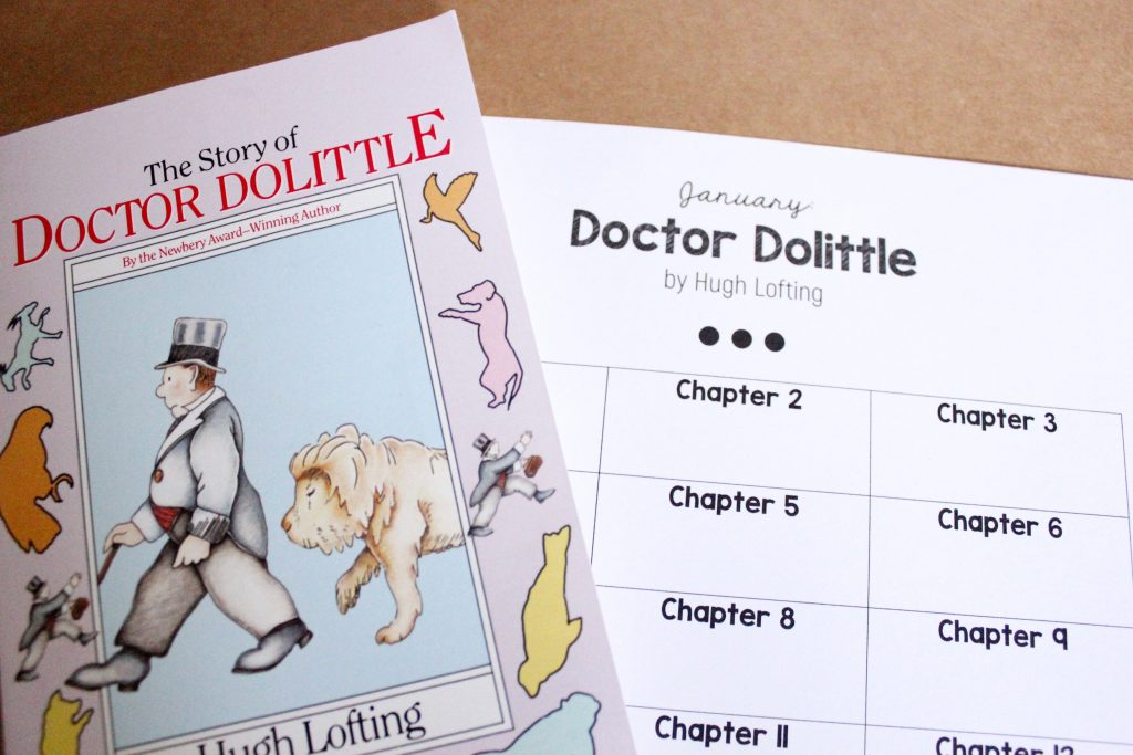 Doctor Dolittle book and a Doctor Dolittle reading tracking sheet