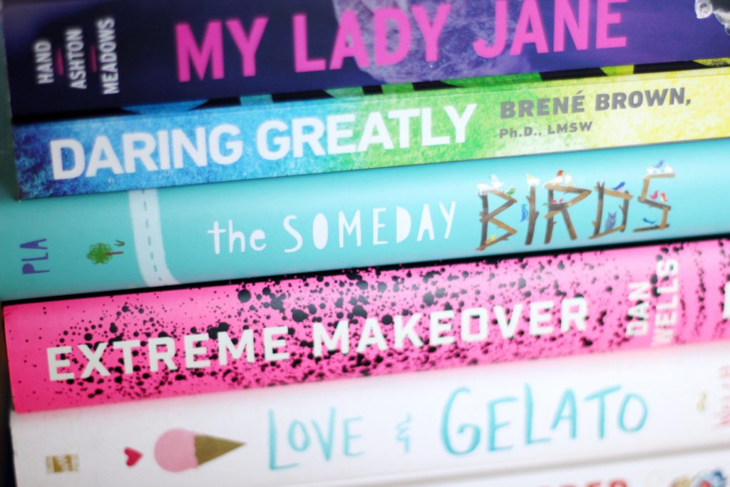 close-up stack of books
