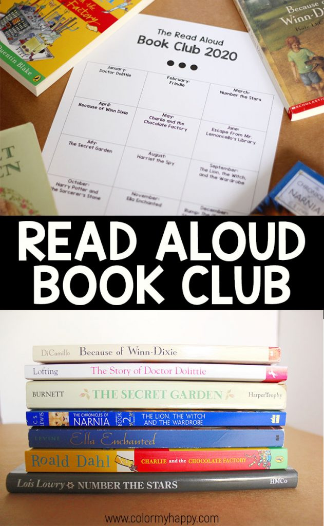 A picture of four books and a 2020 book club tracking sheet on top of a picture of a stack of children\'s books