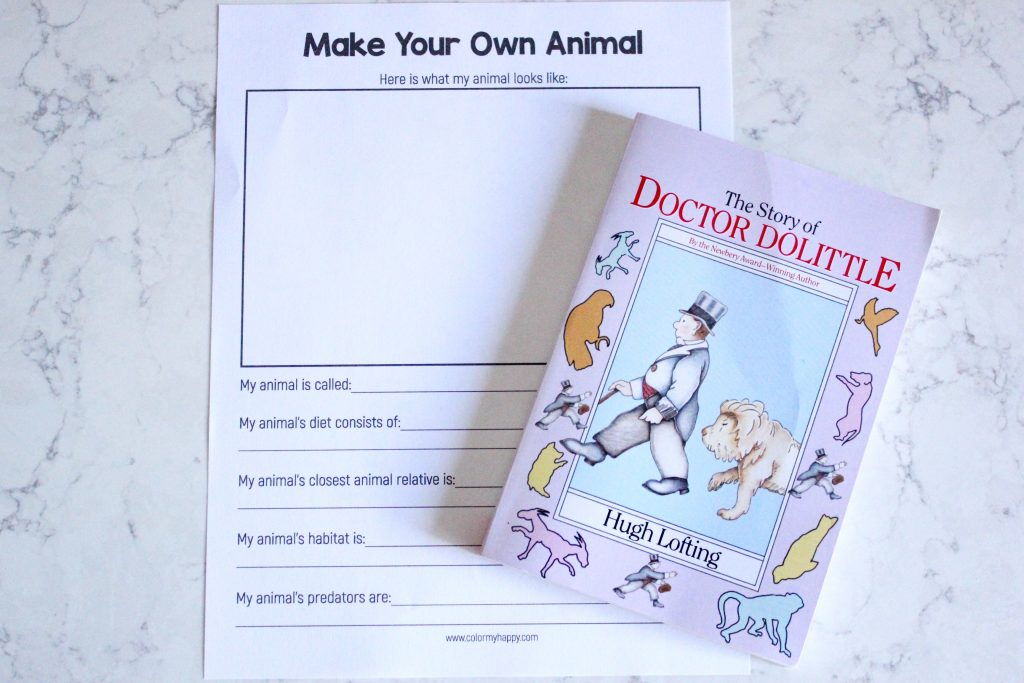 The Story of Doctor Dolittle book and a make your own animal printable worksheet