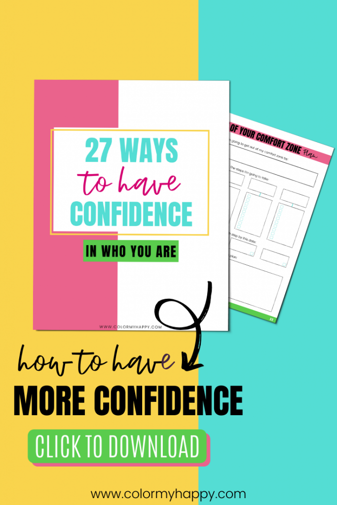 27 Ways to Have More Confidence Workbook on a yellow and blue background.