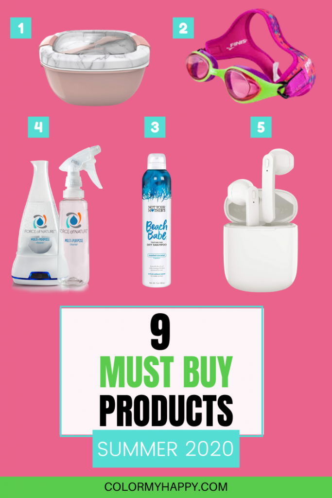 A salad container, goggles, spray bottle and cleaner appliance, dry shampoo, and wireless bluetooth headphones in a case,