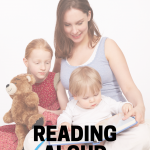 A mom reading to her 2 young kids with the text 6 tips for reading aloud to your kids