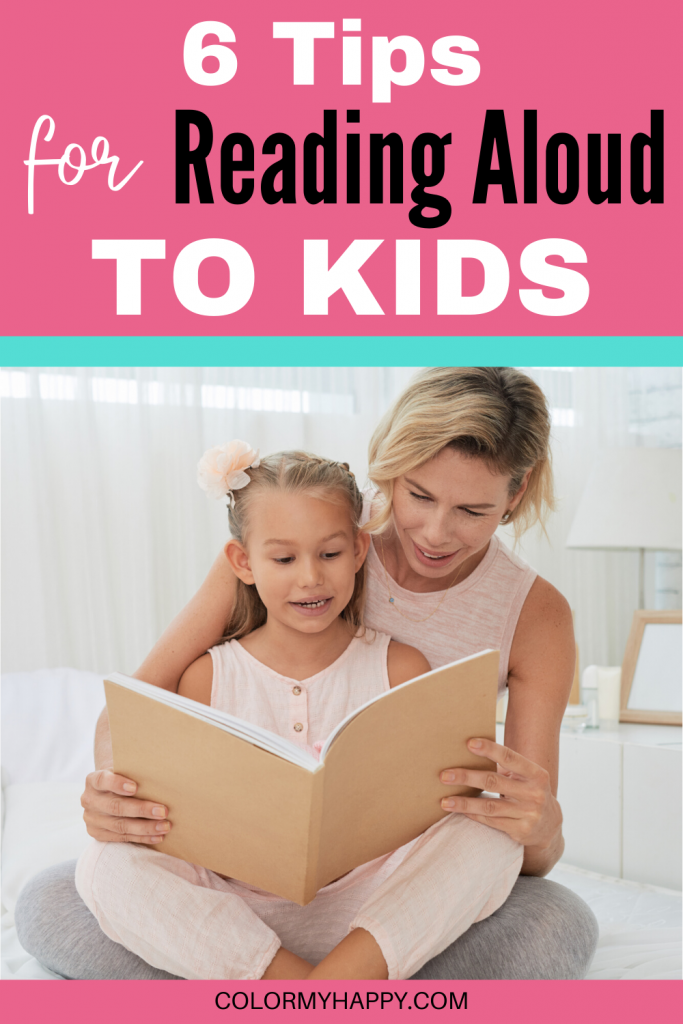 A mom reading to her daughter with the text 6 tips for reading aloud to your kids