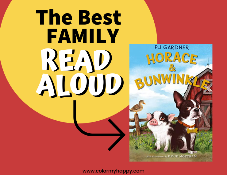 A red background with a yellow circle that says The Best Family Read Aloud and a picture of the cover of Horace and Bunwinkle book