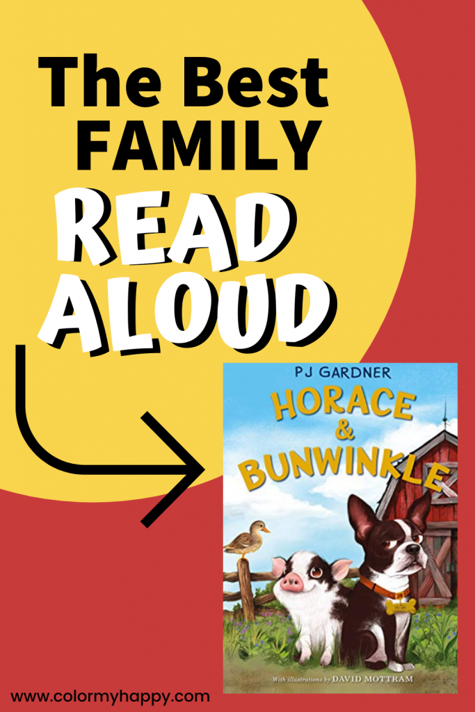 The cover of Horace and Bunwinkle with a farm, fence, duck, pig, and dog and the words The Best Family Read Aloud
