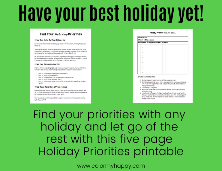 Examples of the holiday priorities printable
